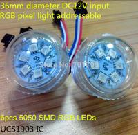 36mm diameter DC12V UCS1903 address pixel light;IP68;6pcs 5050 SMD RGB LEDs,RGB full color