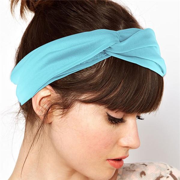 New Outdoor Sport High Elastic Cute Cross Shape Bandana Headband Headwear for Women Head Wrap Hair Accessories 10 Colors(China (Mainland))