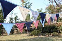 Zakka Vintage Blue Pink wedding decoration home decoration cotton bunting, kids party supplies Baby shower garlands