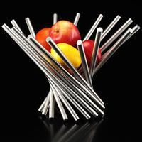 Fashion Creative 18/8 Stainless Steel Rotating Shrink Fruit Pots Bowl Basket Large Fruit Plate