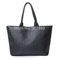 2014 korean handwoven high capacity shopping bag PU leather single shoulder bags fashion big women woven tote ladies sac a main