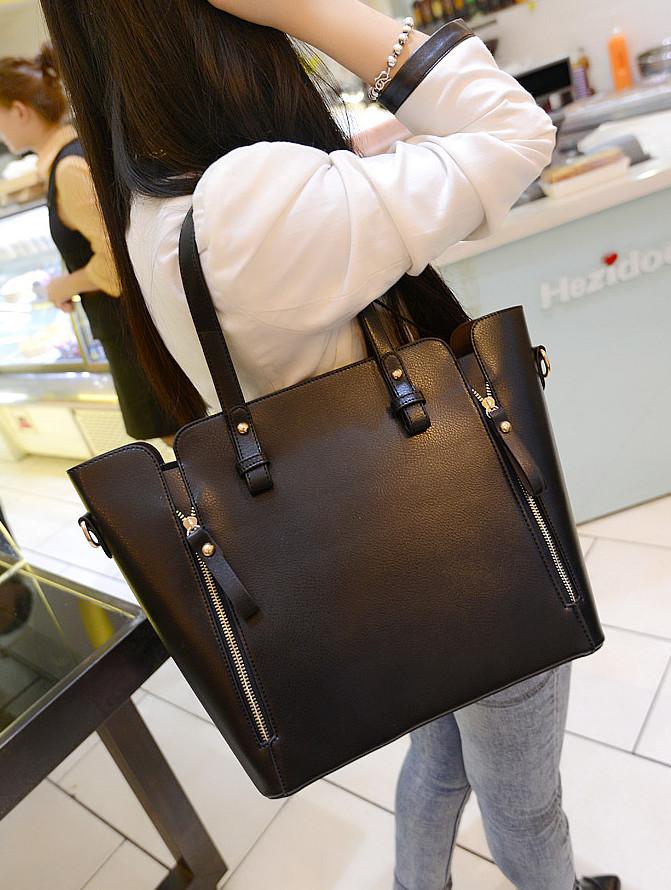 Women's handbag big bags 2015 women black handbag autumn and winter one shoulder bag lady women pu leather messenger size bag(China (Mainland))