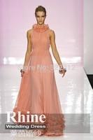 2015 Elegant High Neck Sheath Evening Dresses Applique Zipper Floor Length Evening Gowns Prom Dresses