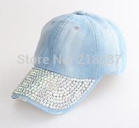 2015 Hot sale!MOQ=1PCS New Vintage Denim With Rhinestone Baseball Cap Fashion Women peaked Caps And Hats