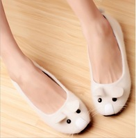 2014 spring The cute mice head women flats,flocky round toe casual single shoes for women,slip-on Sequined women shoes
