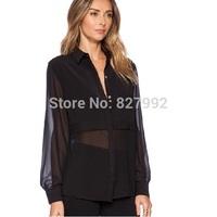 Women Casual Fashion Plus size 2015 New Transparent Patchwork Chiffon Shirt Blouse Sexy Slim Long Sleeves Top Black