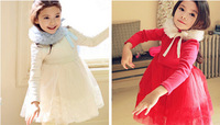 2014 New Fashion Winter Spring Autumn Girls Baby Child Kids New Year Christmas Lace Tullet Thick Fleece Red/White Dress H0140928