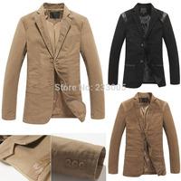 2015 New Fashion High Quality PU Leather Designs Suits For Men Blazer Slim Fit Cheap Mens Blazers Jacket Khaki/Brown/Black M-5XL