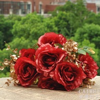 European gold fruit artificial flowers roses silk flower bouquet of roses Phnom Penh living room at home decorative flowers