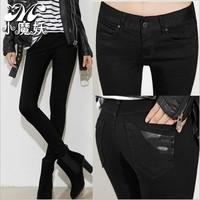 Pure black jeans pants in women's explicit thin waist elastic pencil pants Korea jeans
