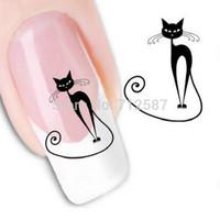 Japanese Style Watermark 1 Sheets 3D Design Cute DIY Black Cat Tip Nail Art Nail Sticker Nails Decal Nail Tools