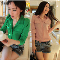 Lanluu 2015 New Fashion Womens Blouses Solid Spring Long Sleeve Shirts Female Casual Blusas SQ1021