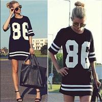 New 2015 Sport Striped Number Pirnted Baseball T-shirts Women Short Sleeve Women T-shirts Long T-shirts Women Pullovers