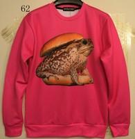 [Magic] Hot style red color Frog Hamburger 3d sweatshirt women/men round neck casual hoodie sweatshirts size S-XL 62 free ship