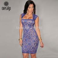 OASAP Women Royal Blue Bodycon Dresses Lace Nude Illusion Vintage Dress Vestidos Ladies   Party Amarelo De Renda   Clubwear