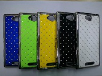 New arrival bling rhinestone diamond case for  Sony Xperia C S39h C2305 phone bag covers,free shipping