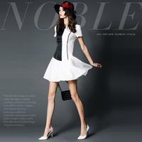 14122503 spring and summer fashion brief cutout patchwork ruffle hem slim one-piece dress
