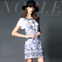 14122531 spring and summer fashion high quality handmade embroidery organza slim one-piece dress