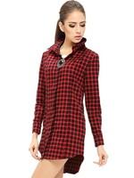 Korean loose Medium-Long Turn-down Collar Long Sleeve Cotton Plaid Shirts Popular Free Shipping