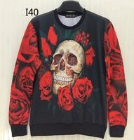 [Magic] Hot ! Decay Skull big red Rose sweatshirt men/women 3d sweatshirt print casual hoodies sweatshirts I40 free shipping