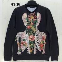 [Magic] Europe and America Hot Decay Flowers Siamese Skull Men's 3d sweatshirt print sweatshirts casual hoodies 9109 free ship