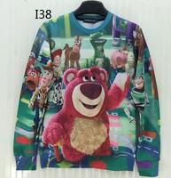 [Magic] Funny red fat bear cartoon sweatshirts Europe and America Popular Character print 3d sweatshirt women hoodies I38