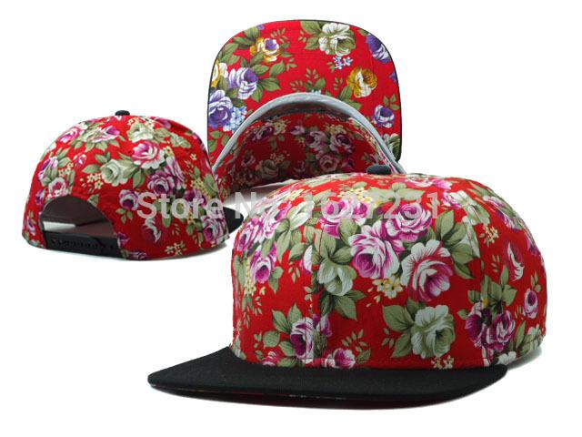 New Arrival Blank Snapback hats in red flower print most fashion hip hip men's women sports good nice baseball Bones Gorras caps(China (Mainland))