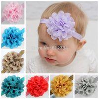 1PCS Girls headwear Baby Headband Infant Chiffon Eyelet Flower Headbands hair band Photography props Hair accessories