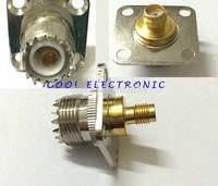 UHF female jack to SMA female jack 4 Holes flange mount RF adapter connector