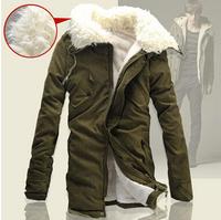 New 2014 Men's Big Lapel Winter Jackets Men Medium-long Warm Fleece Coats Mens Winter High Quality Parka