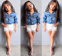 freeshipping!2015 brand girl clothing set summer baby & kids denim print jeans T-shirt + lace short pants girls sets 5sets/lot