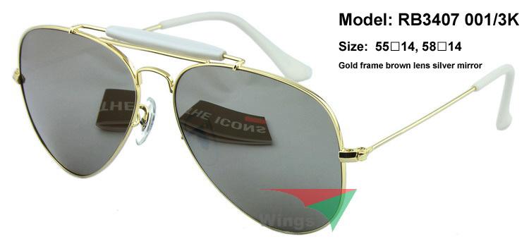 Designer brand new metal sunglasses RB3407 Outdoorsman aviator style 001/3K gold frame mirror lens uv ray protect high end logo(China (Mainland))