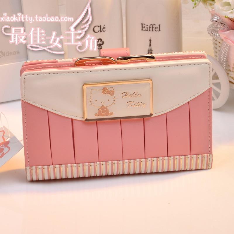 0 KT hello kitty wallet female long paragraph fold handbag / wallet cartoon bag(China (Mainland))