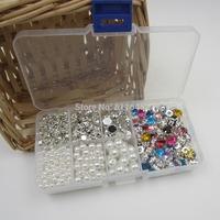 800PCS Mix Size round pearl and Glass claw rhinestones for wedding dress decoration DIY,Acryl Crystal Sew On Rhinestone Beads