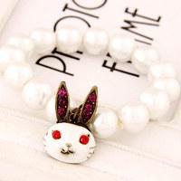 Hiphop Rabbit Elastic Pearl Charm Bracelets for Women Fashion Pulseiras Femininas Benny Mujer Accessories Bijuterias 2015