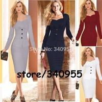 Women Dresses Elegant Hot Sale Full Sleeve Pencil Party Cocktail Bodycon With Button Dresses Size S M L XL XXL