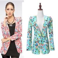 Small Suit Female , Spring Autumn 2015 New Europe America Slim Medium-Long Fashion Printing  Blazer Coat Free Shipping