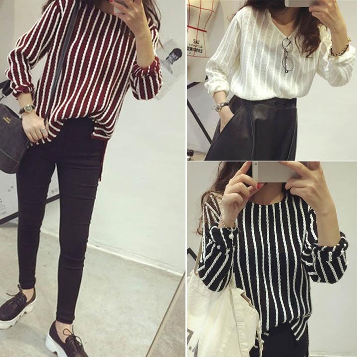 Primavera verão 2015 novo estilo de cânhamo flores Vertical listrado Tops mulheres Crewneck camisa solta T mulheres Tops casuais camisetas 11134(China (Mainland))