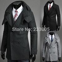 New 2015 High Quality Duffle Coat Men Wool Pea Coat Double Breasted Trench Coat Men Overcoat Cheap Mens Hooded Pea Coats M-XXL