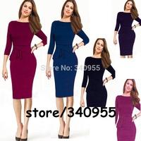 Women Dresses New Fashion Brand Hot Sale Elegant Midi O-neck Full Sleeve Party Evening Pencil Dresses Size S M L XL XXL