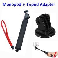 Handheld Tripe Selfie Monopod Extendable Stick Monope + Tripod Adapter Mount for Gopro Camera Hero3 1 2 4 HD sj4000 Accessories