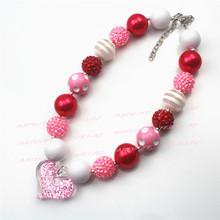 2pcs rosado del corazón rosado y rojo 20mm Beads gruesos Niños Niñas Bubblegum Chunky Collar Valentines grueso collar CB542()
