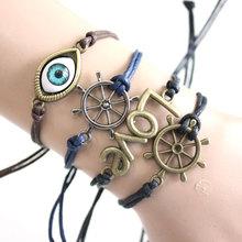 Turkish fashion simple double heart LOVE eye weave bracelet Charm Bracelets Bangles For Women and men