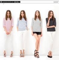 2015 New fashion plus size women clothing summer stripe T Shirt Women T-Shirts Cotton Short Sleeve Tees Women  tops Hot Blouses