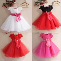 2014 Summer Baby Girls Big Bow Princess Party Dress Cute  Tutu Dresses Children Clothing Kids Fashion Clothes 6 Colors