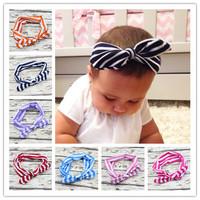 2015 Fashion Baby Top Knot Headbands Baby Headwrap Stripled Knot Baby Head Wrap Tie Knot Headwrap Girls Headwear 2pcs