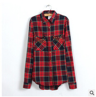 2015 New Women Fashion Sexy Blusas Striped Printing Rivet Long Sleeve blusas Turn-down Collar In The Spring Of Casual Wear 1243