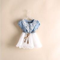 Retail 1Pc New 2015 summer girl short sleeved patchwork denim dress baby & kids lace Dress girls dress children Clothing