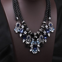 N153 Europe luxury double-decker exaggerated short necklace Crystal  fashion women jewelry LC50