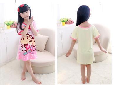 Children's summer cotton Lycra cotton nightgown Sleepwear Nightdress PJS Kids Girl Dress Nightgown(China (Mainland))
